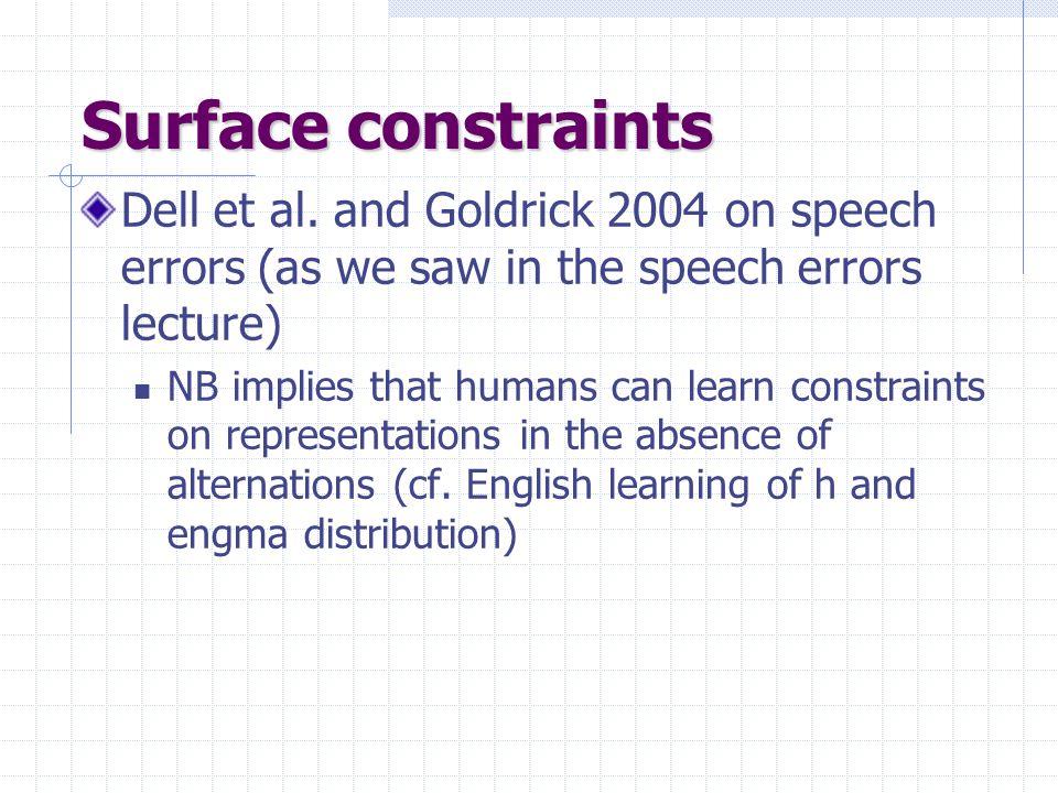 Surface constraints Dell et al.