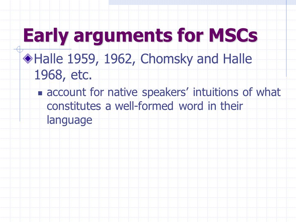 Early arguments for MSCs Halle 1959, 1962, Chomsky and Halle 1968, etc. account for native speakers' intuitions of what constitutes a well-formed word