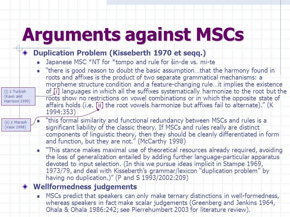 Arguments against MSCs Duplication Problem (Kisseberth 1970 et seqq.) Japanese MSC *NT for *tompo and rule for šin-de vs.