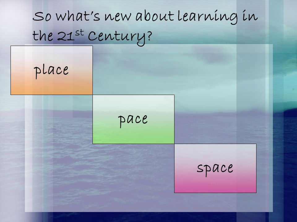 So what's new about learning in the 21 st Century? pace space place