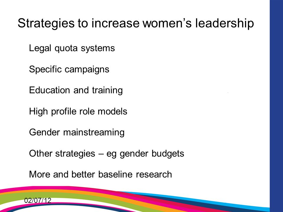 02/07/12 Strategies to increase women's leadership Legal quota systems Specific campaigns Education and training High profile role models Gender mainstreaming Other strategies – eg gender budgets More and better baseline research