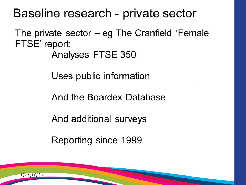 02/07/12 Baseline research - private sector The private sector – eg The Cranfield 'Female FTSE' report: Analyses FTSE 350 Uses public information And the Boardex Database And additional surveys Reporting since 1999