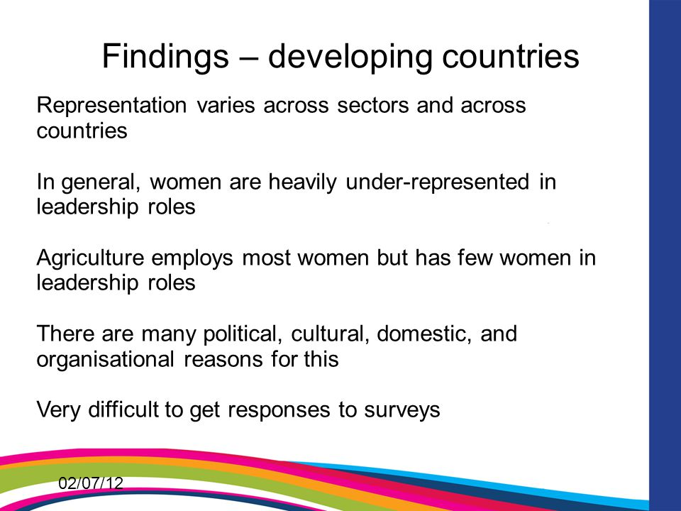 02/07/12 Findings – developing countries Representation varies across sectors and across countries In general, women are heavily under-represented in leadership roles Agriculture employs most women but has few women in leadership roles There are many political, cultural, domestic, and organisational reasons for this Very difficult to get responses to surveys