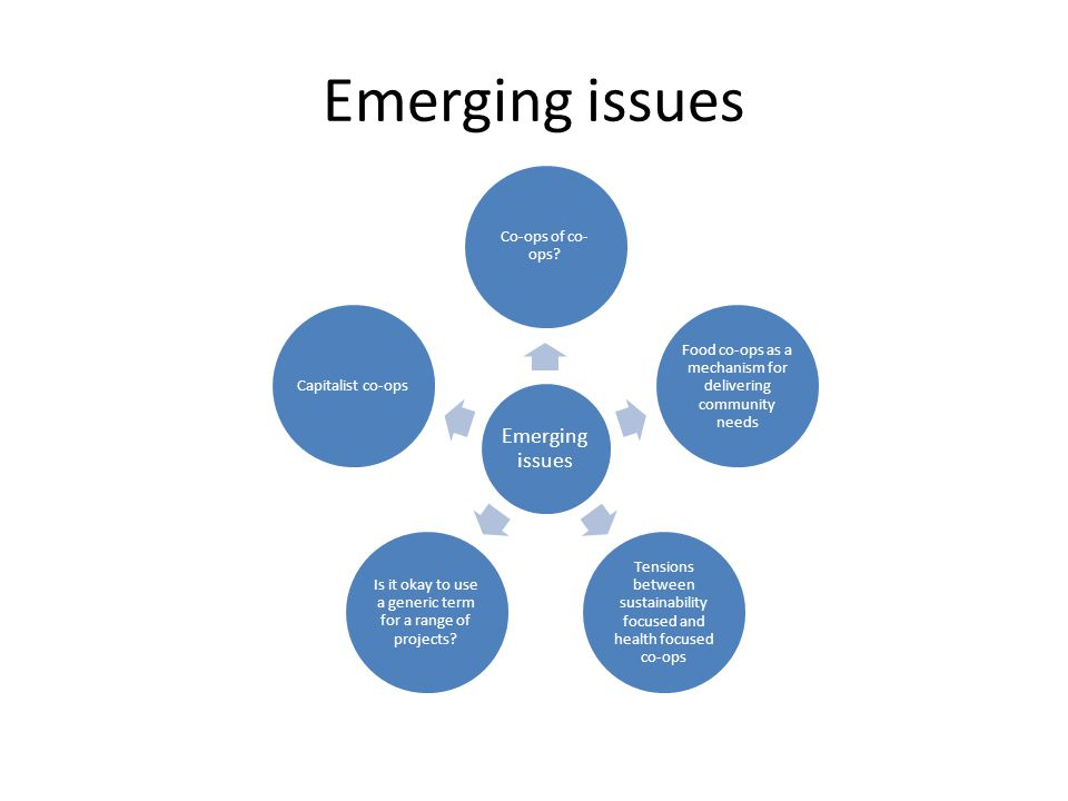 Emerging issues Co-ops of co- ops.