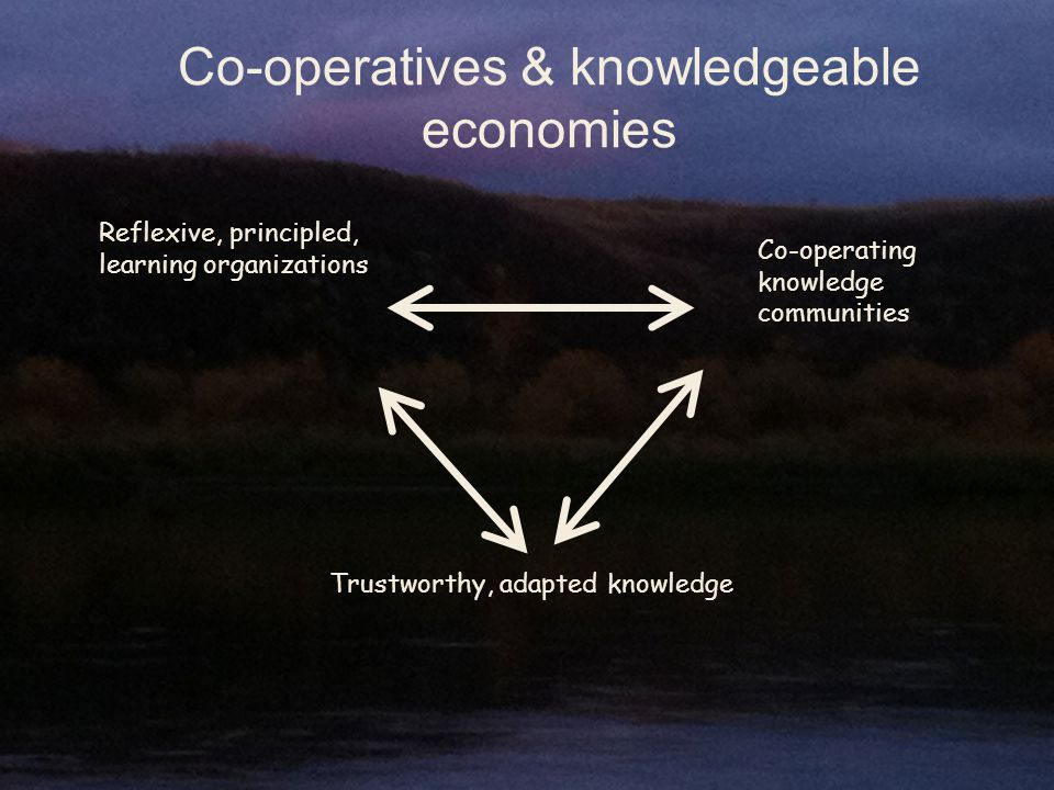 Co-operatives & knowledgeable economies Reflexive, principled, learning organizations Co-operating knowledge communities Trustworthy, adapted knowledge