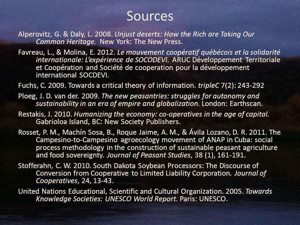 Sources Alperovitz, G. & Daly, L. 2008.