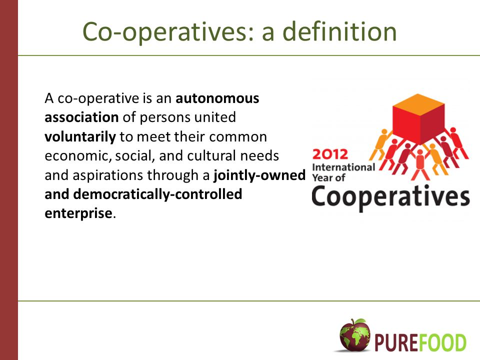 Co-operatives: a definition A co-operative is an autonomous association of persons united voluntarily to meet their common economic, social, and cultural needs and aspirations through a jointly-owned and democratically-controlled enterprise.