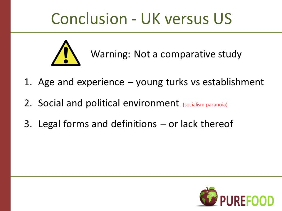 Conclusion - UK versus US 1.Age and experience – young turks vs establishment 2.Social and political environment (socialism paranoia) 3.Legal forms and definitions – or lack thereof Warning: Not a comparative study