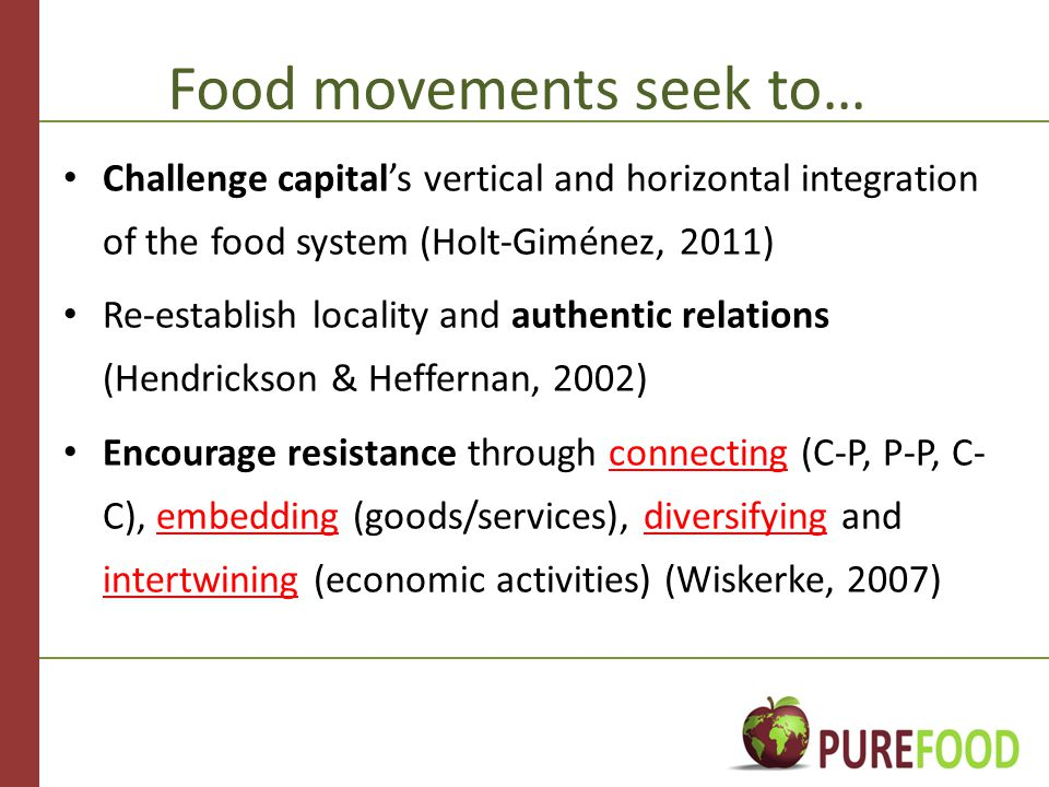 Food movements seek to… Challenge capital's vertical and horizontal integration of the food system (Holt-Giménez, 2011) Re-establish locality and authentic relations (Hendrickson & Heffernan, 2002) Encourage resistance through connecting (C-P, P-P, C- C), embedding (goods/services), diversifying and intertwining (economic activities) (Wiskerke, 2007)