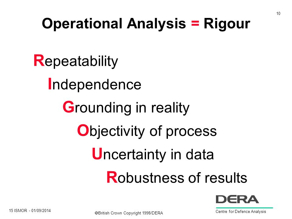 10 15 ISMOR - 01/09/2014 Centre for Defence Analysis  British Crown Copyright 1998/DERA Operational Analysis = Rigour R epeatability I ndependence G rounding in reality O bjectivity of process U ncertainty in data R obustness of results