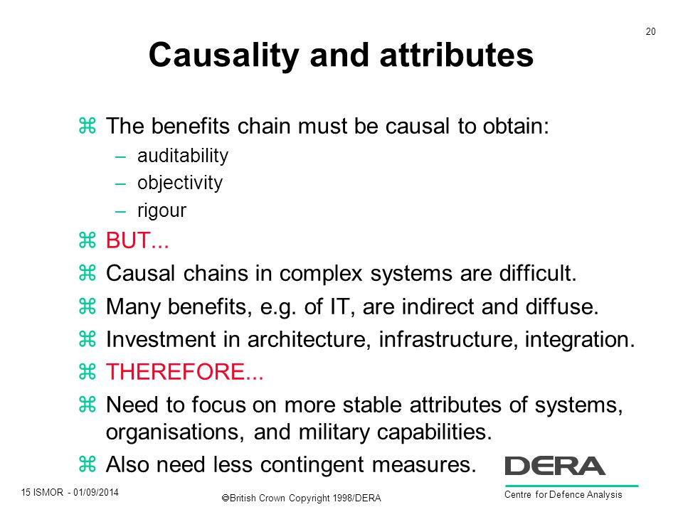 20 15 ISMOR - 01/09/2014 Centre for Defence Analysis  British Crown Copyright 1998/DERA Causality and attributes zThe benefits chain must be causal to obtain: –auditability –objectivity –rigour zBUT...