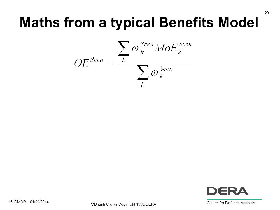 29 15 ISMOR - 01/09/2014 Centre for Defence Analysis  British Crown Copyright 1998/DERA Maths from a typical Benefits Model