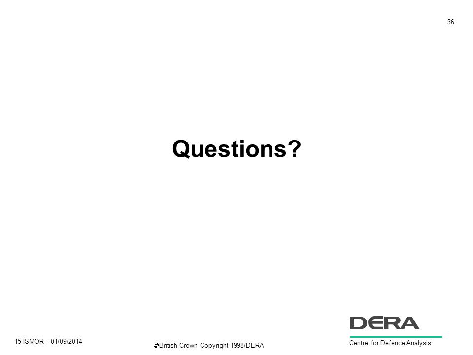 36 15 ISMOR - 01/09/2014 Centre for Defence Analysis  British Crown Copyright 1998/DERA Questions