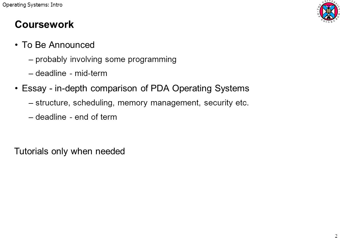 Operating Systems: Intro 13 Interfaces Hardware Operating System process application user