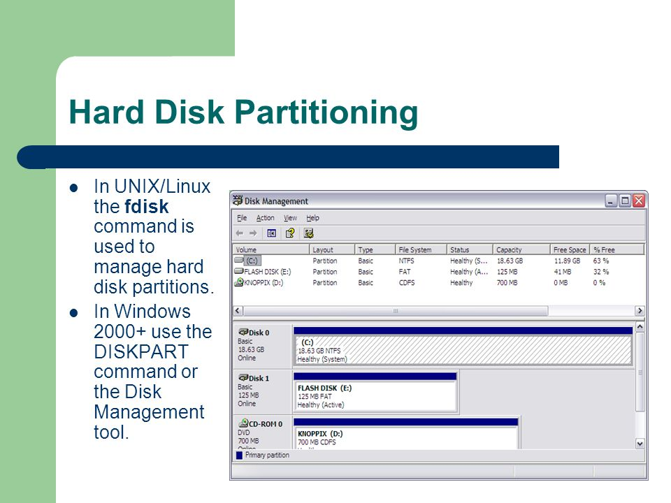 Hard Disk Partitioning In UNIX/Linux the fdisk command is used to manage hard disk partitions. In Windows 2000+ use the DISKPART command or the Disk M