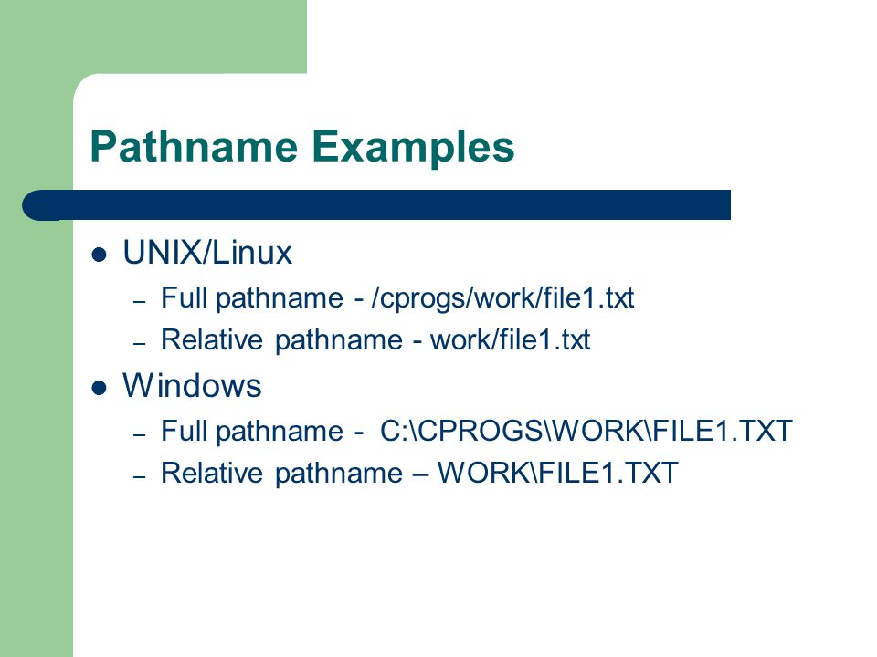 Pathname Examples UNIX/Linux – Full pathname - /cprogs/work/file1.txt – Relative pathname - work/file1.txt Windows – Full pathname - C:\CPROGS\WORK\FI