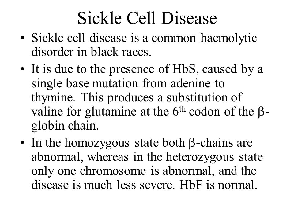 Sickle Cell Disease Sickle cell disease is a common haemolytic disorder in black races.