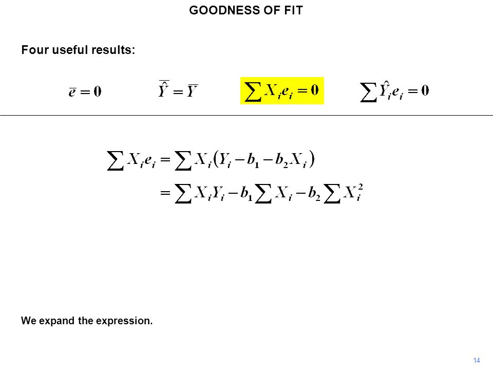 GOODNESS OF FIT 14 We expand the expression. Four useful results: