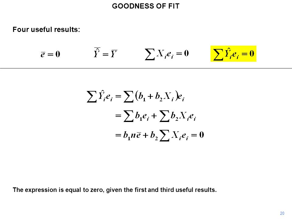GOODNESS OF FIT 20 The expression is equal to zero, given the first and third useful results. Four useful results: