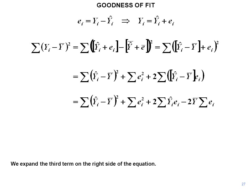 GOODNESS OF FIT 27 We expand the third term on the right side of the equation.