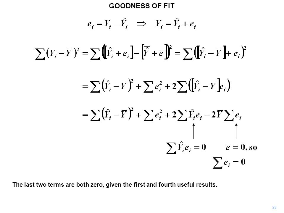 GOODNESS OF FIT 28 The last two terms are both zero, given the first and fourth useful results.