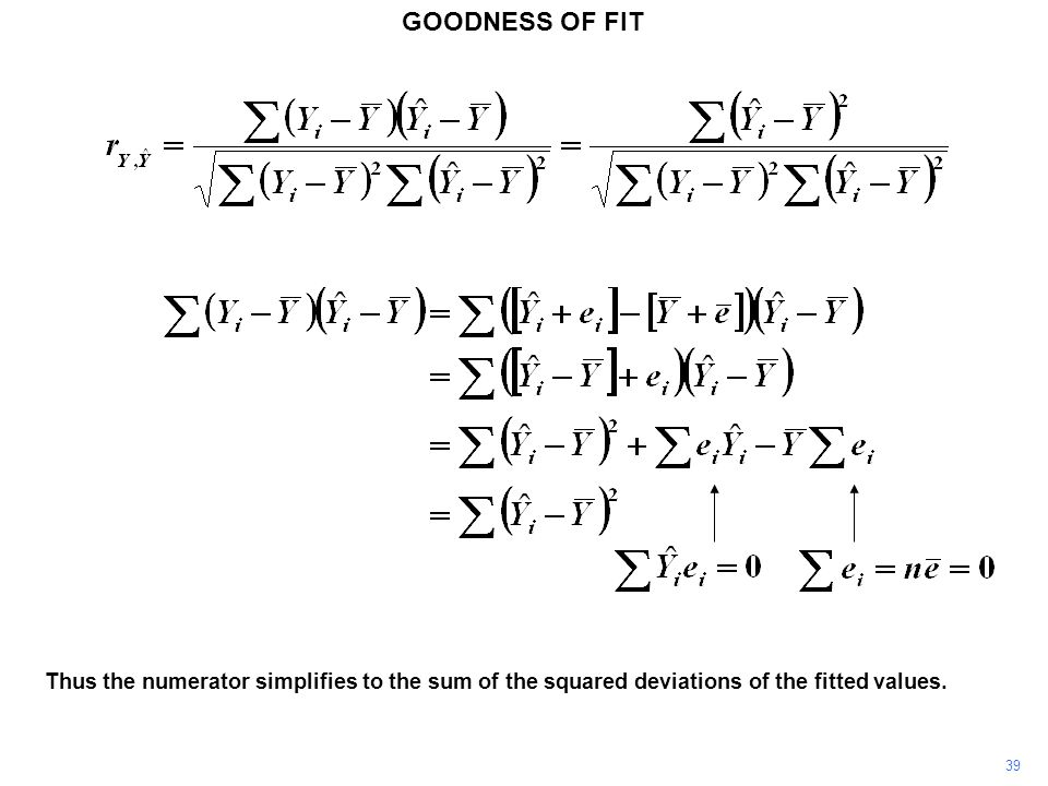 GOODNESS OF FIT Thus the numerator simplifies to the sum of the squared deviations of the fitted values. 39