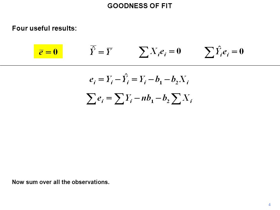 GOODNESS OF FIT Another natural criterion of goodness of fit is the correlation between the actual and fitted values of Y.