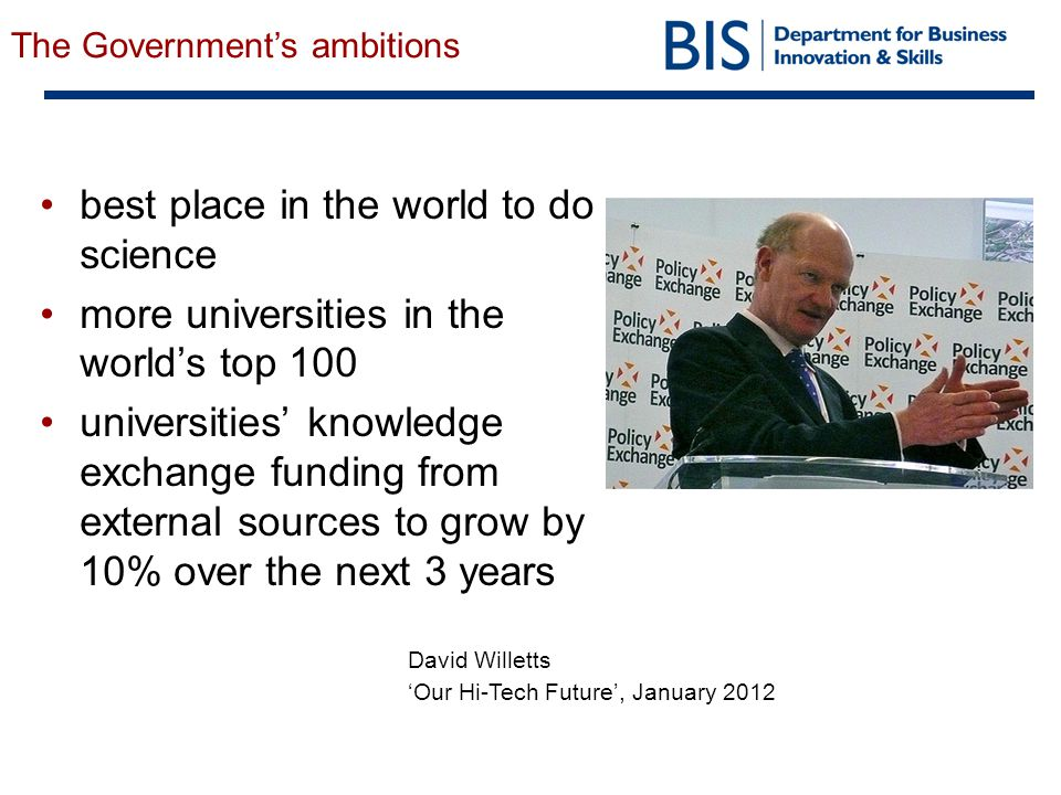 best place in the world to do science more universities in the world's top 100 universities' knowledge exchange funding from external sources to grow by 10% over the next 3 years David Willetts 'Our Hi-Tech Future', January 2012 The Government's ambitions