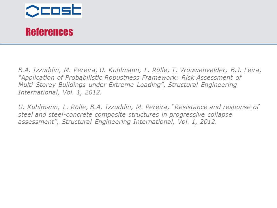 "References B.A. Izzuddin, M. Pereira, U. Kuhlmann, L. Rölle, T. Vrouwenvelder, B.J. Leira, ""Application of Probabilistic Robustness Framework: Risk As"