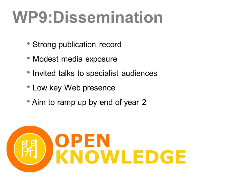 WP9:Dissemination Strong publication record Modest media exposure Invited talks to specialist audiences Low key Web presence Aim to ramp up by end of year 2