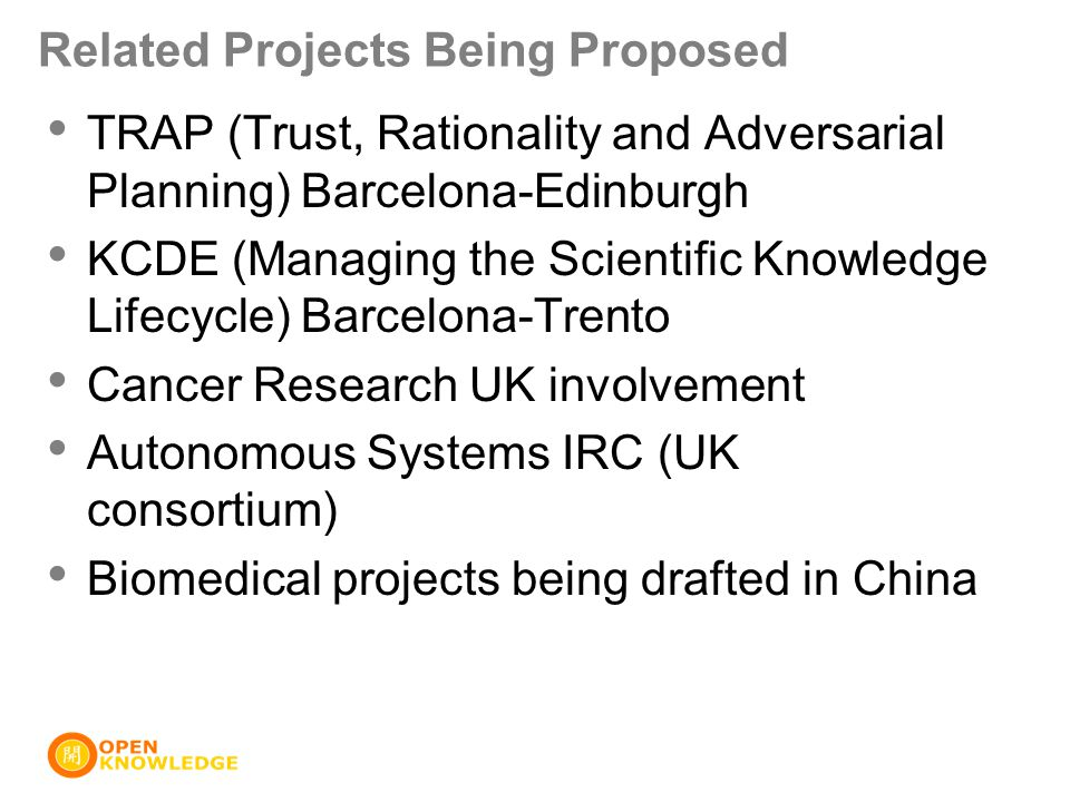 Related Projects Being Proposed TRAP (Trust, Rationality and Adversarial Planning) Barcelona-Edinburgh KCDE (Managing the Scientific Knowledge Lifecycle) Barcelona-Trento Cancer Research UK involvement Autonomous Systems IRC (UK consortium) Biomedical projects being drafted in China