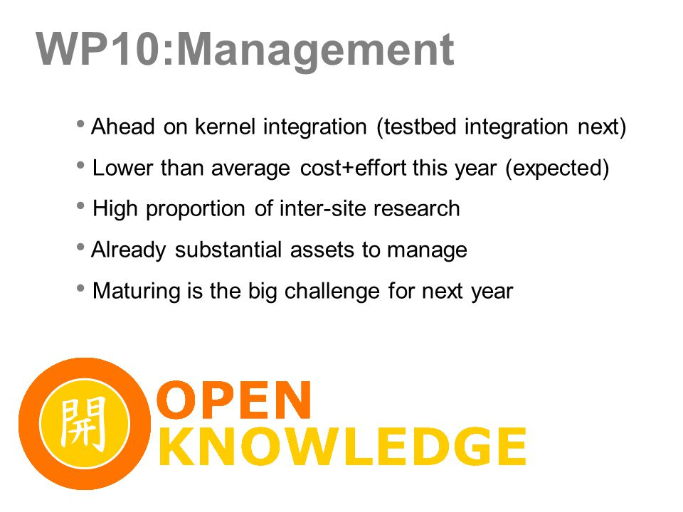 WP10:Management Ahead on kernel integration (testbed integration next) Lower than average cost+effort this year (expected) High proportion of inter-site research Already substantial assets to manage Maturing is the big challenge for next year