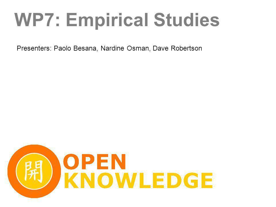 WP7: Empirical Studies Presenters: Paolo Besana, Nardine Osman, Dave Robertson