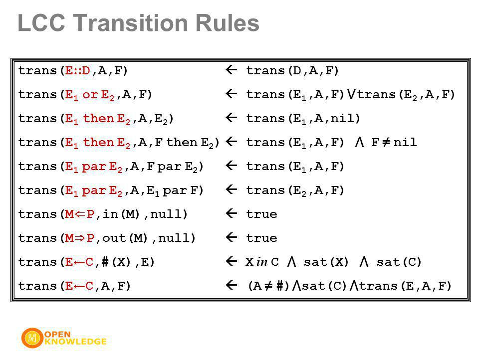 trans(E :: D,A,F)  trans(D,A,F) trans(E 1 or E 2,A,F)  trans(E 1,A,F) ⋁ trans(E 2,A,F) trans(E 1 then E 2,A,E 2 )  trans(E 1,A,nil) trans(E 1 then E 2,A,F then E 2 )  trans(E 1,A,F) ⋀ F ≠ nil trans(E 1 par E 2,A,F par E 2 )  trans(E 1,A,F) trans(E 1 par E 2,A,E 1 par F)  trans(E 2,A,F) trans(M ⇐ P,in(M),null)  true trans(M ⇒ P,out(M),null)  true trans(E ← C,#(X),E)  X in C ⋀ sat(X) ⋀ sat(C) trans(E ← C,A,F)  (A ≠ #) ⋀ sat(C) ⋀ trans(E,A,F) LCC Transition Rules