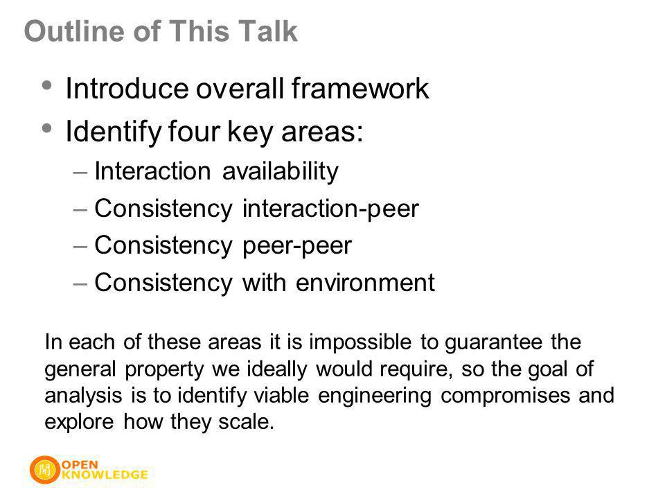 Outline of This Talk Introduce overall framework Identify four key areas: –Interaction availability –Consistency interaction-peer –Consistency peer-pe