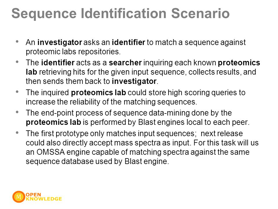 Sequence Identification Scenario An investigator asks an identifier to match a sequence against proteomic labs repositories. The identifier acts as a