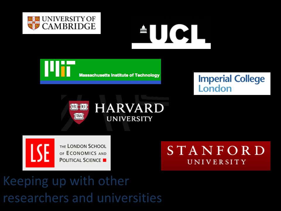 Keeping up with other researchers and universities