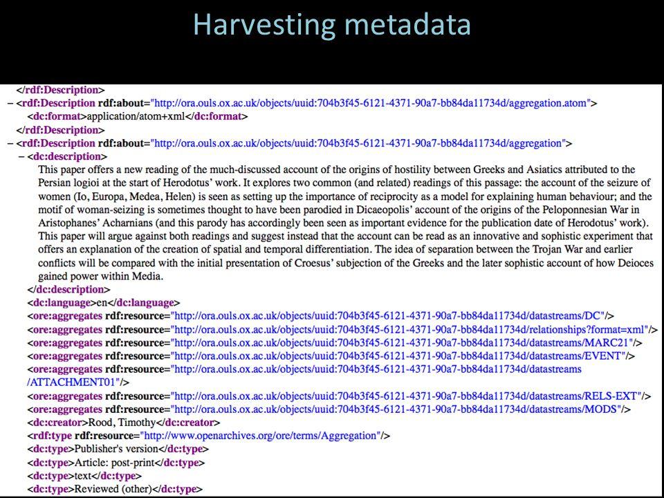 Harvesting metadata