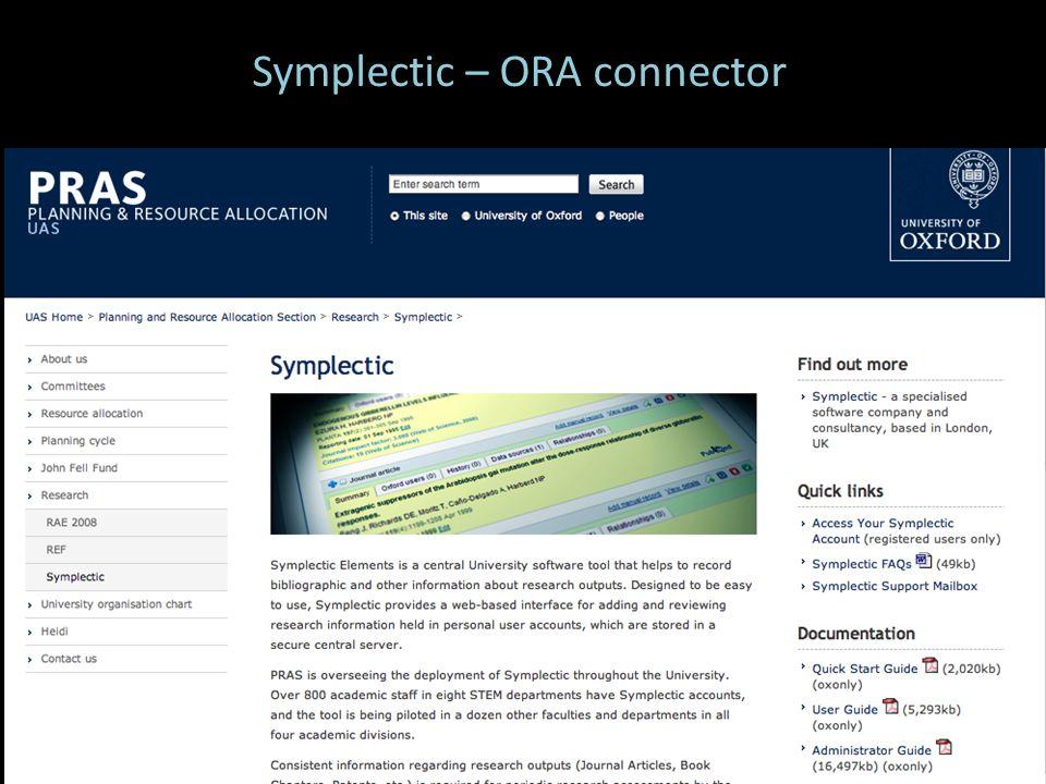 Symplectic – ORA connector