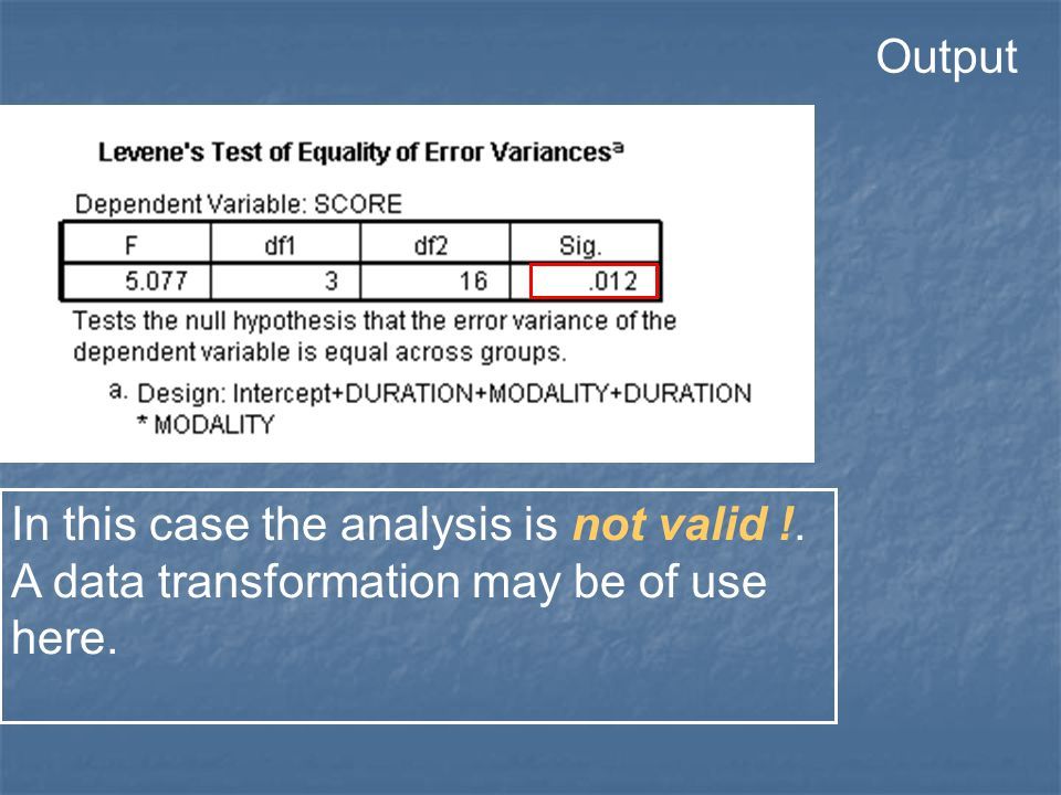 In this case the analysis is not valid !. A data transformation may be of use here. Output
