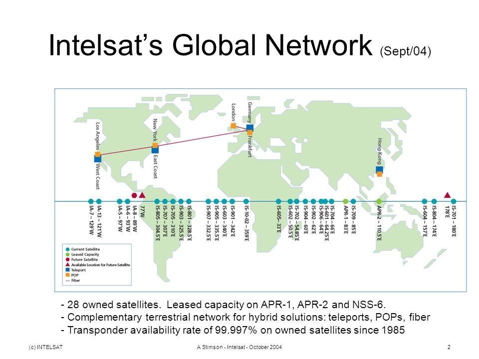 (c) INTELSATA Stimson - Intelsat - October 20042 Intelsat's Global Network (Sept/04) - 28 owned satellites.