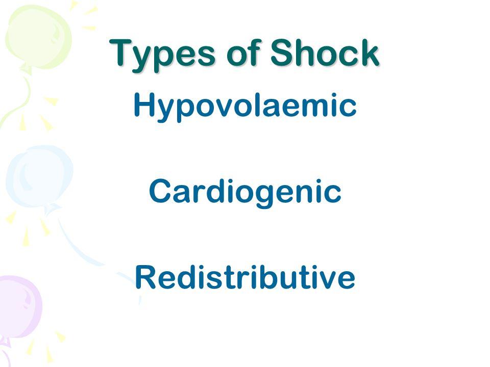 Types of Shock Hypovolaemic Cardiogenic Redistributive