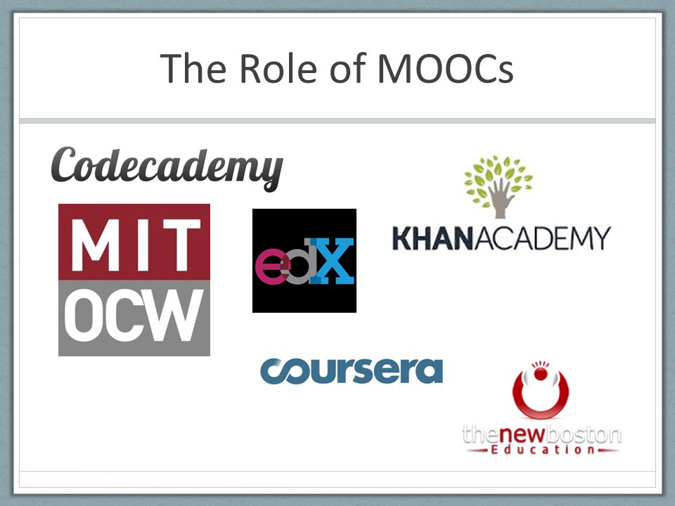 The Role of MOOCs