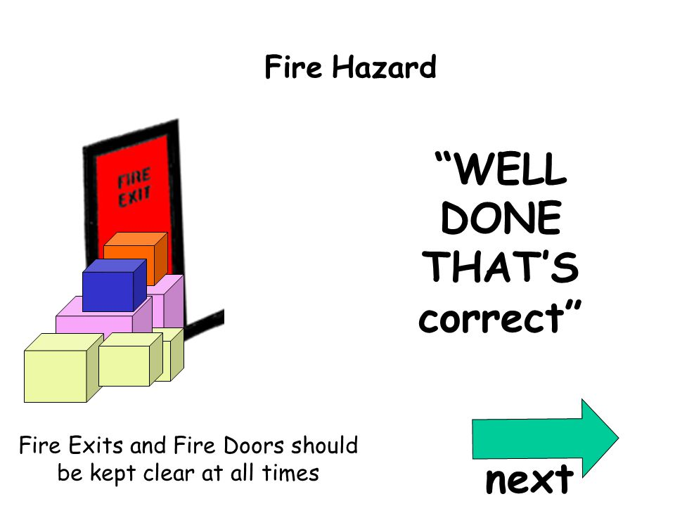 Correct Qu7 WELL DONE THAT'S correct Fire Exits and Fire Doors should be kept clear at all times Fire Hazard next
