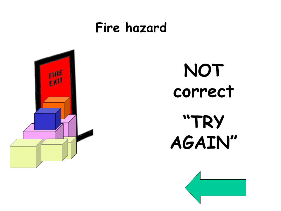 Wrong Question 7 NOT correct TRY AGAIN Fire hazard