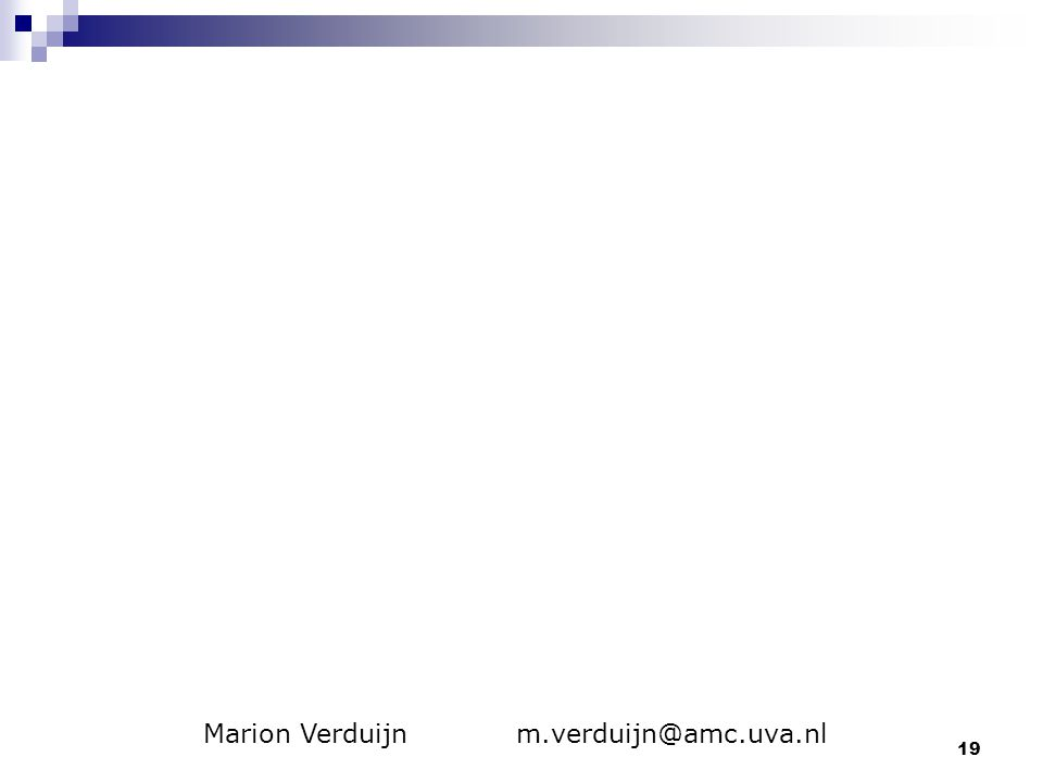 19 Marion Verduijn m.verduijn@amc.uva.nl