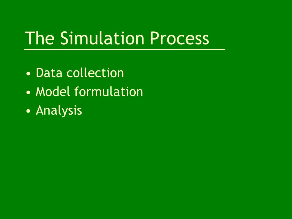 The Simulation Process Data collection Model formulation Analysis
