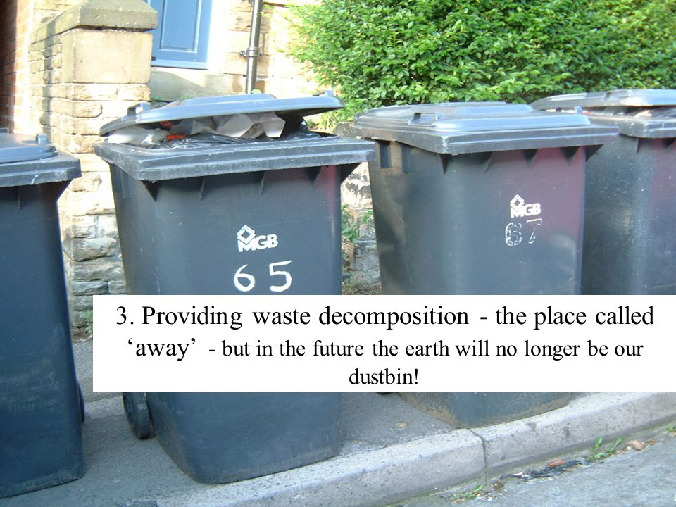 3. Providing waste decomposition - the place called 'away' - but in the future the earth will no longer be our dustbin!