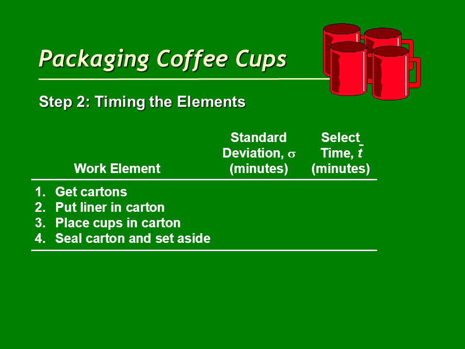 Packaging Coffee Cups Step 2: Timing the Elements StandardSelect Deviation,  Time, t Work Element(minutes)(minutes) 1.Get cartons 2.Put liner in carton 3.Place cups in carton 4.Seal carton and set aside