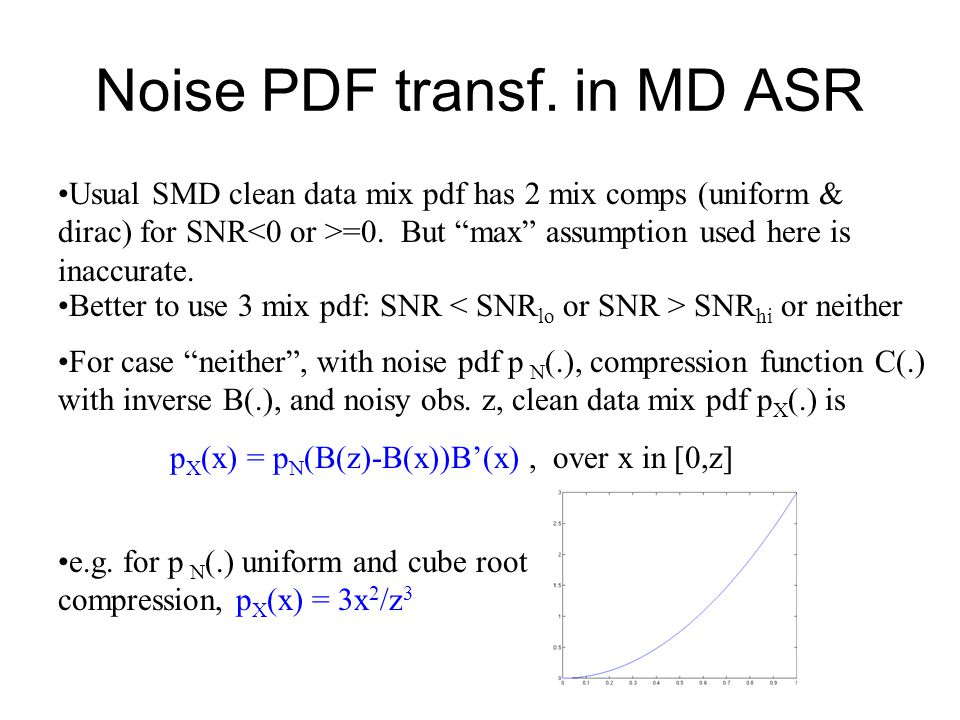 "Noise PDF transf. in MD ASR Usual SMD clean data mix pdf has 2 mix comps (uniform & dirac) for SNR =0. But ""max"" assumption used here is inaccurate. B"